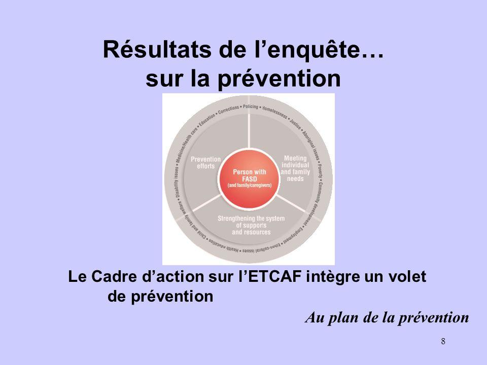 8 Résultats de lenquête… sur la prévention Le Cadre daction sur lETCAF intègre un volet de prévention Au plan de la prévention