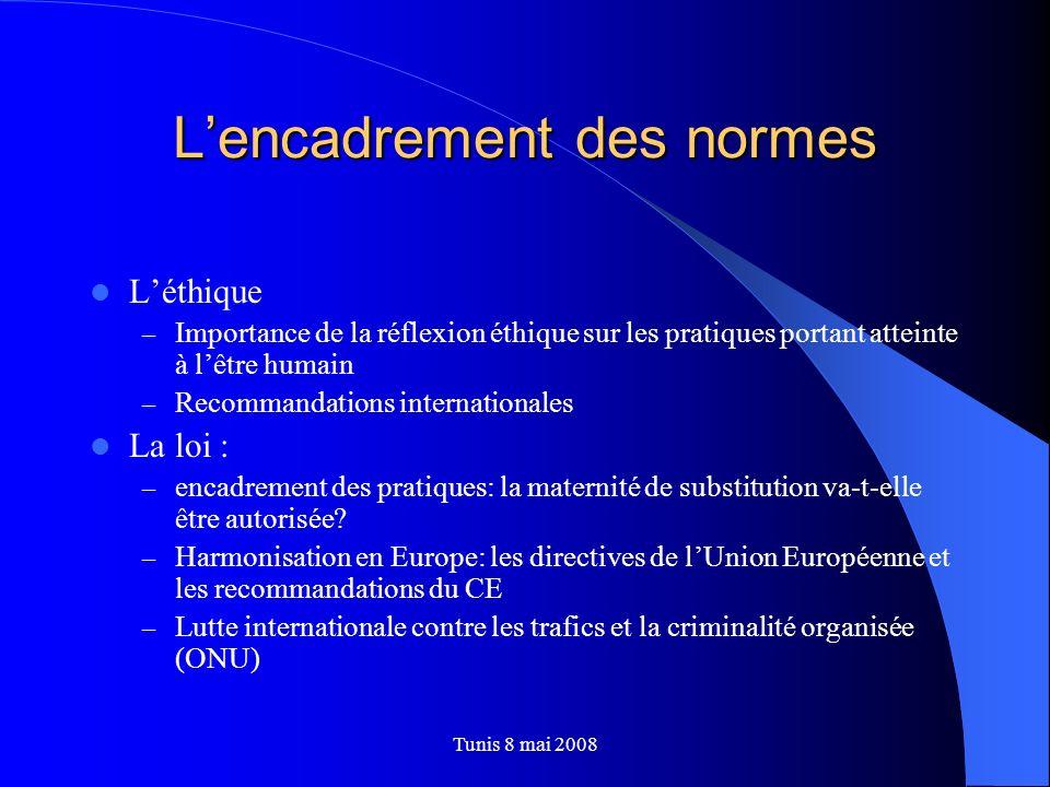 Tunis 8 mai 2008 Lencadrement des normes Léthique – Importance de la réflexion éthique sur les pratiques portant atteinte à lêtre humain – Recommandat