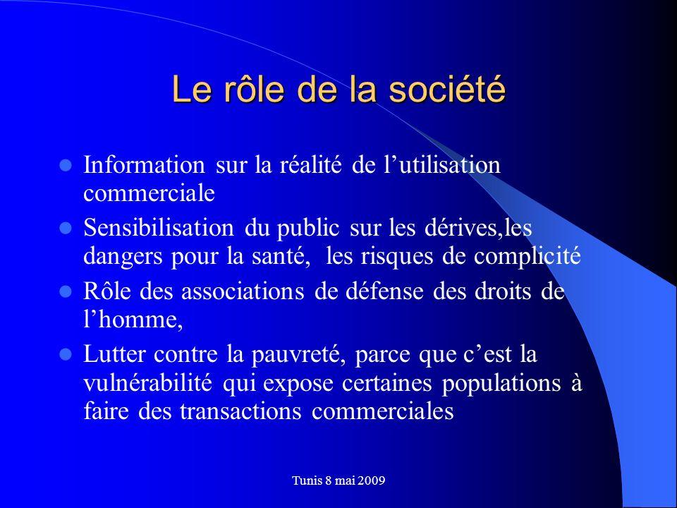 Tunis 8 mai 2009 Le rôle de la société Information sur la réalité de lutilisation commerciale Sensibilisation du public sur les dérives,les dangers po