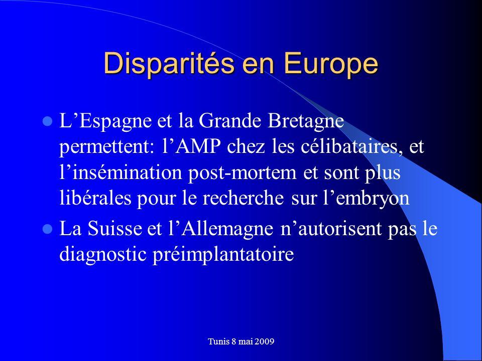 Disparités en Europe LEspagne et la Grande Bretagne permettent: lAMP chez les célibataires, et linsémination post-mortem et sont plus libérales pour l