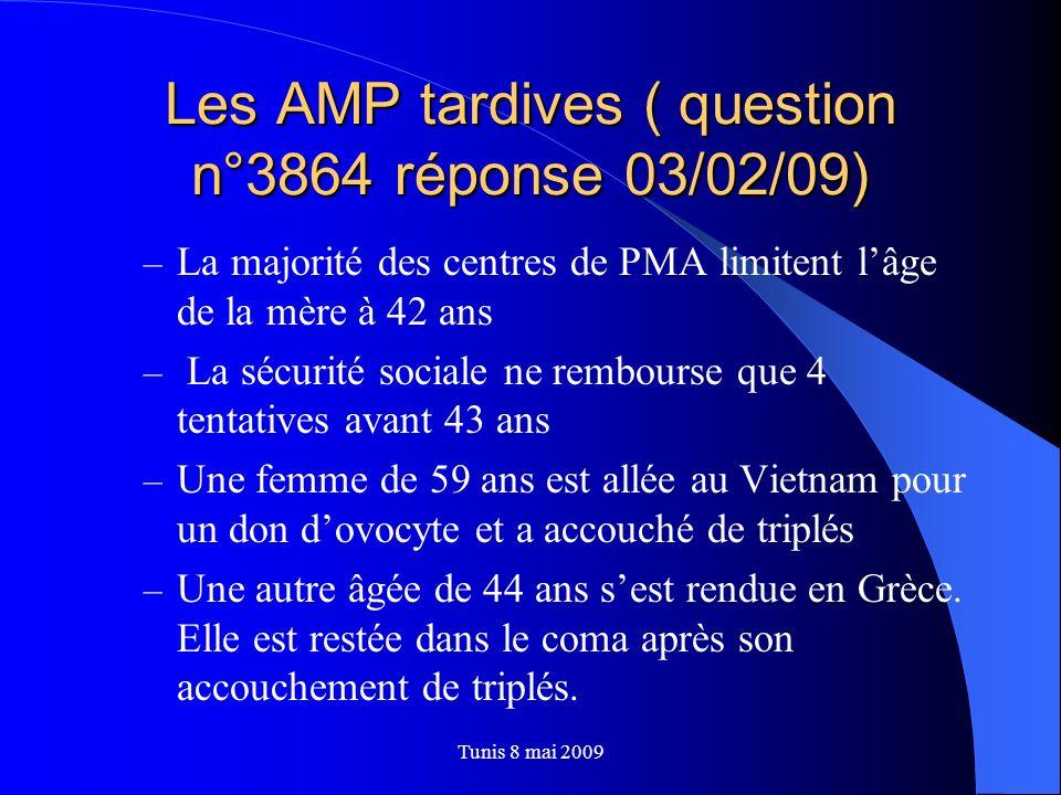 Les AMP tardives ( question n° 3 864 réponse 03/02/09) – La Ministre de la santé se dit préoccupée, mais quil ne serait pas concevable que ces femmes se trouvent sans encadrement médical à leur retour en France Tunis 8 mai 2009