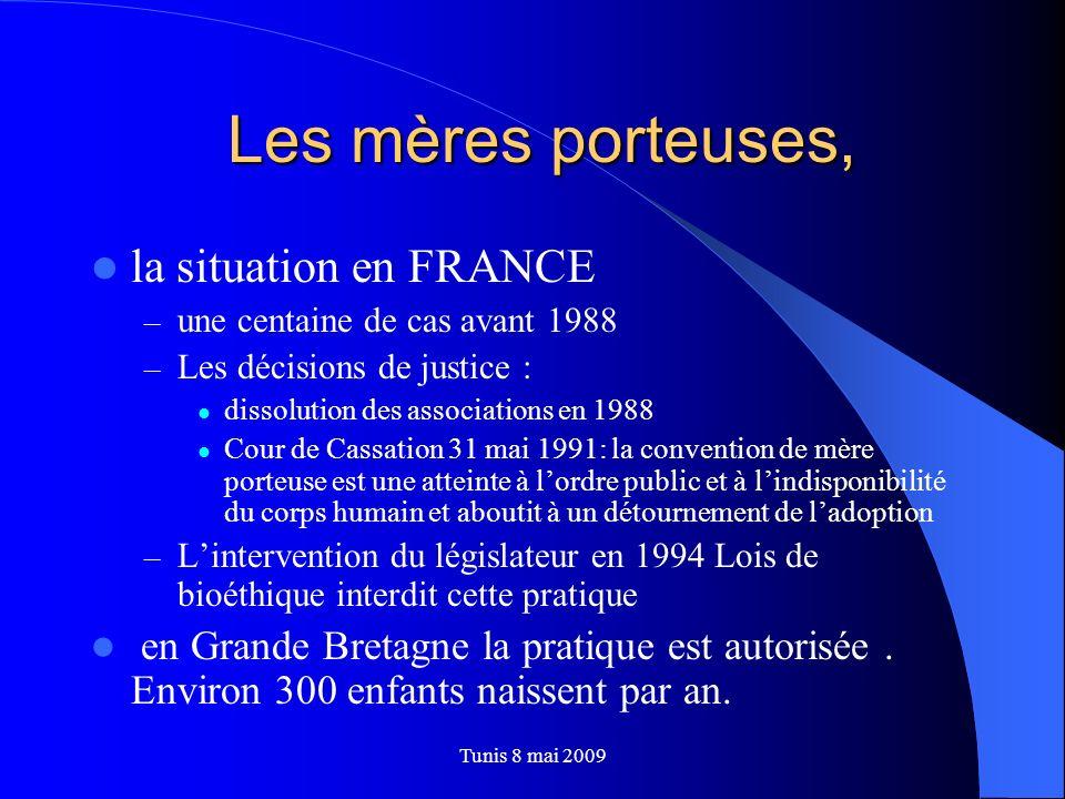 Les mères porteuses, Les mères porteuses, la situation en FRANCE – une centaine de cas avant 1988 – Les décisions de justice : dissolution des associa