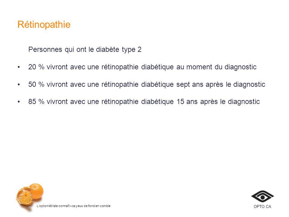 Loptométriste connaît vos yeux de fond en comble OPTO.CA Rétinopathie Personnes qui ont le diabète type 2 20 % vivront avec une rétinopathie diabétiqu