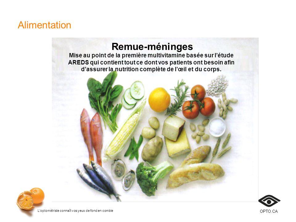 Loptométriste connaît vos yeux de fond en comble OPTO.CA Alimentation Remue-méninges Mise au point de la première multivitamine basée sur létude AREDS
