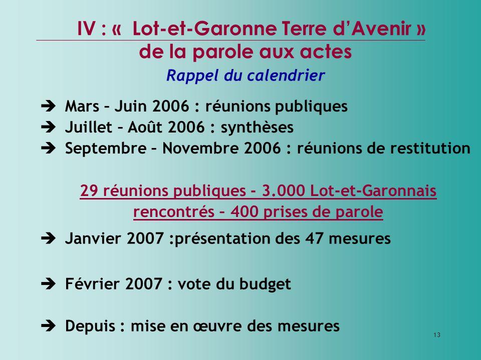 13 Mars – Juin 2006 : réunions publiques Juillet – Août 2006 : synthèses Septembre – Novembre 2006 : réunions de restitution 29 réunions publiques - 3