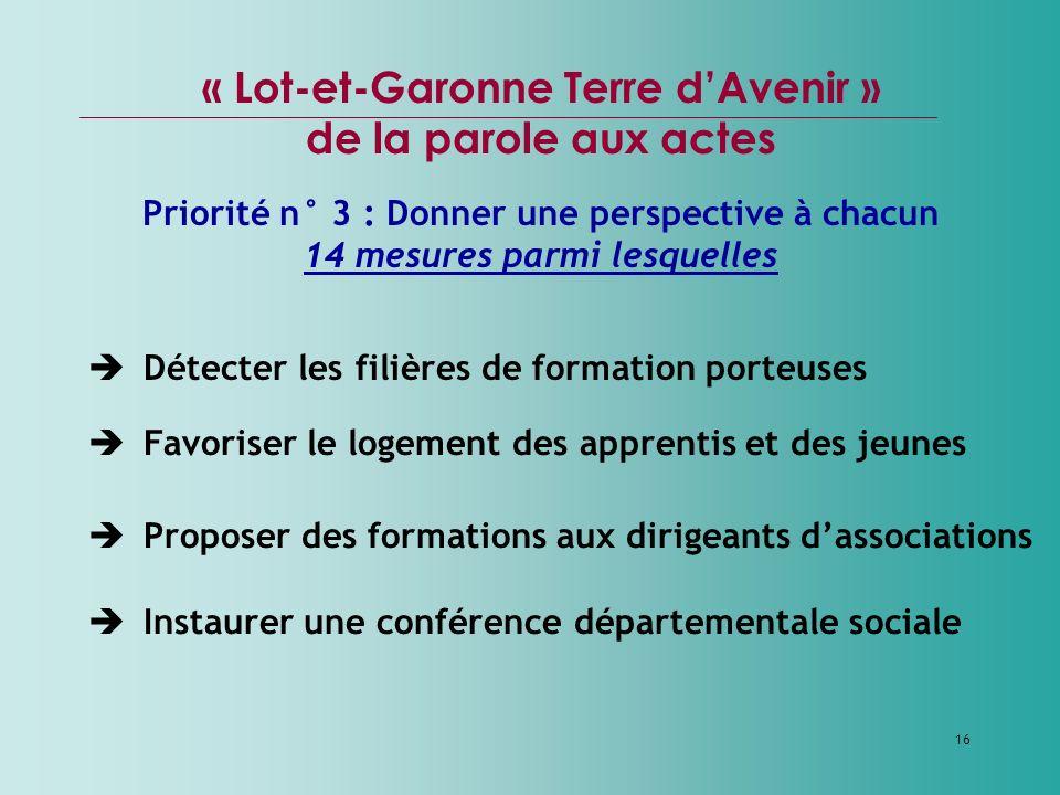 16 « Lot-et-Garonne Terre dAvenir » de la parole aux actes Priorité n° 3 : Donner une perspective à chacun 14 mesures parmi lesquelles Détecter les fi
