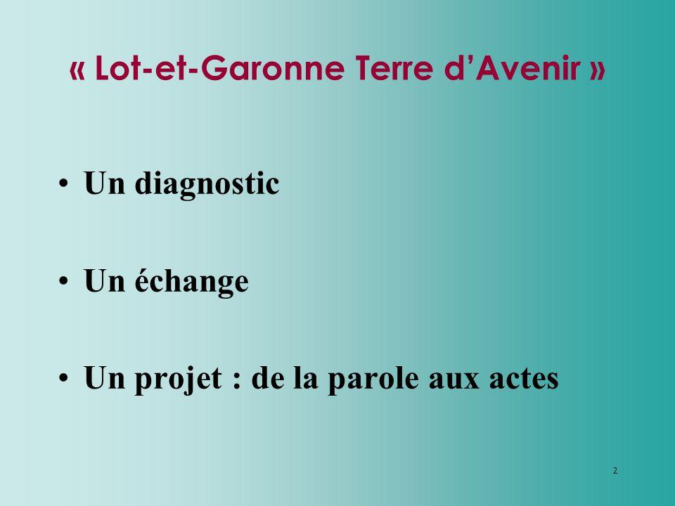 2 « Lot-et-Garonne Terre dAvenir » Un diagnostic Un échange Un projet : de la parole aux actes