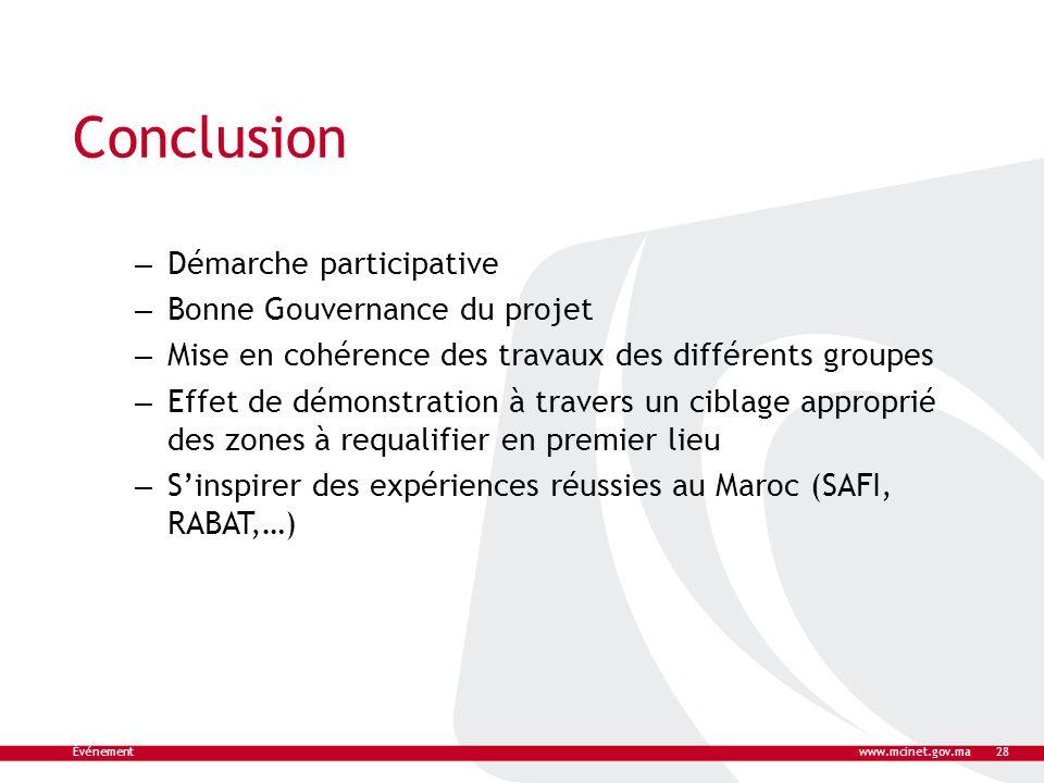 Conclusion – Démarche participative – Bonne Gouvernance du projet – Mise en cohérence des travaux des différents groupes – Effet de démonstration à tr