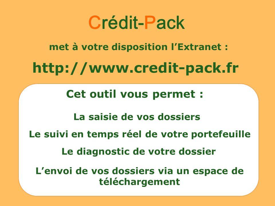 met à votre disposition lExtranet : http://www.credit-pack.fr La saisie de vos dossiers Le suivi en temps réel de votre portefeuille Le diagnostic de
