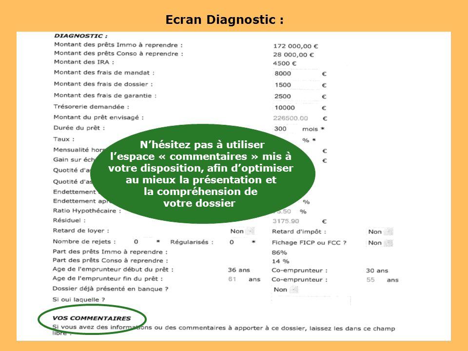Ecran Diagnostic : Nhésitez pas à utiliser lespace « commentaires » mis à votre disposition, afin doptimiser au mieux la présentation et la compréhens