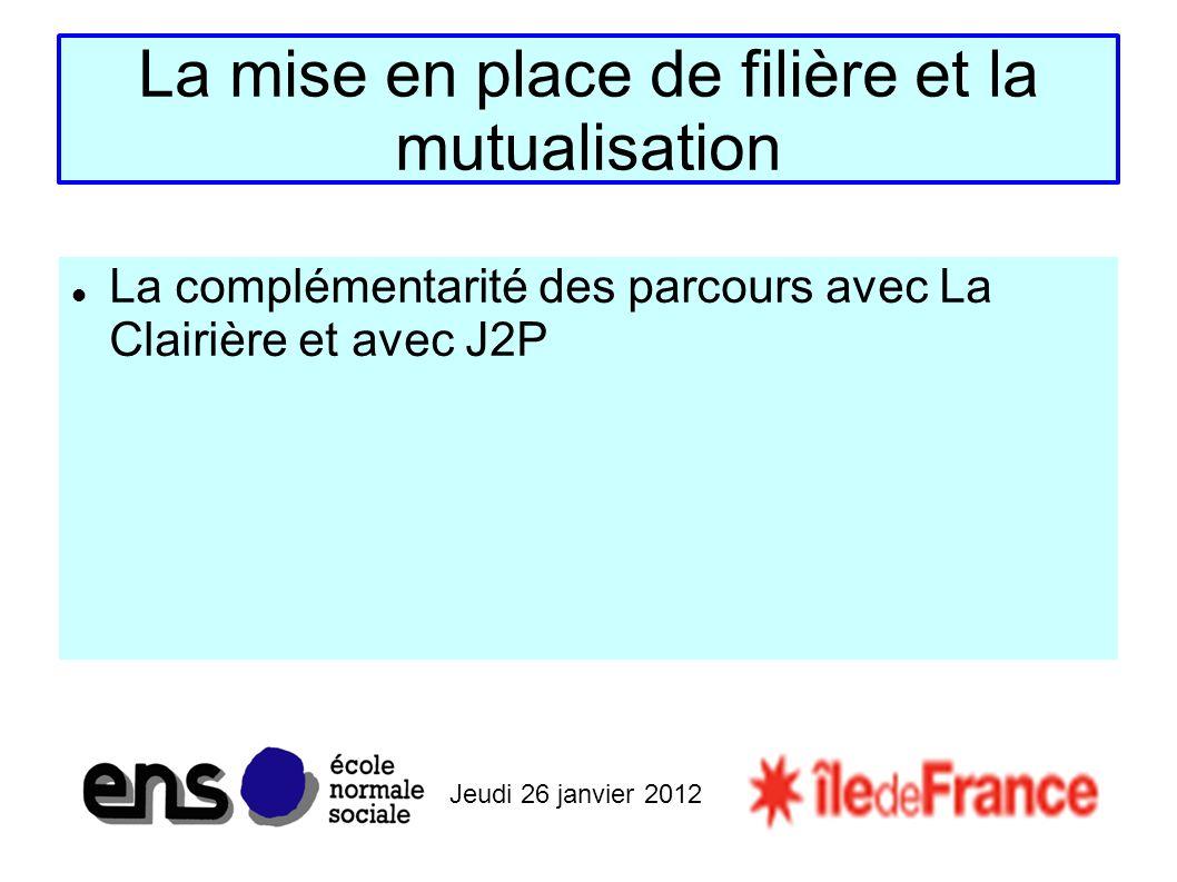 Jeudi 26 janvier 2012 La mise en place de filière et la mutualisation La complémentarité des parcours avec La Clairière et avec J2P