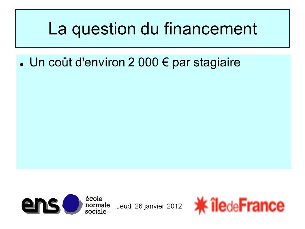 Jeudi 26 janvier 2012 La question du financement Un coût d environ 2 000 par stagiaire