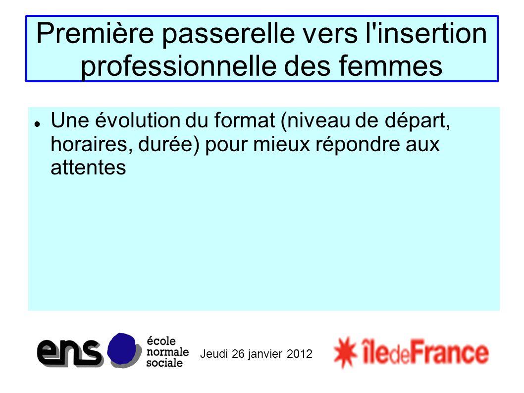 Jeudi 26 janvier 2012 Première passerelle vers l insertion professionnelle des femmes Une évolution du format (niveau de départ, horaires, durée) pour mieux répondre aux attentes