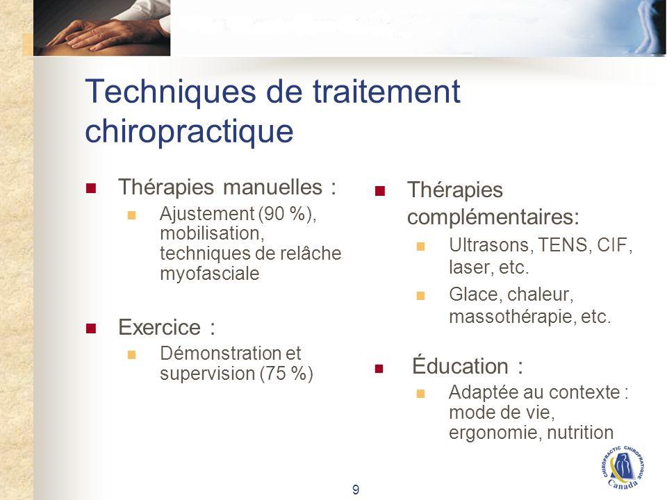 9 Techniques de traitement chiropractique Thérapies manuelles : Ajustement (90 %), mobilisation, techniques de relâche myofasciale Exercice : Démonstration et supervision (75 %) Thérapies complémentaires: Ultrasons, TENS, CIF, laser, etc.