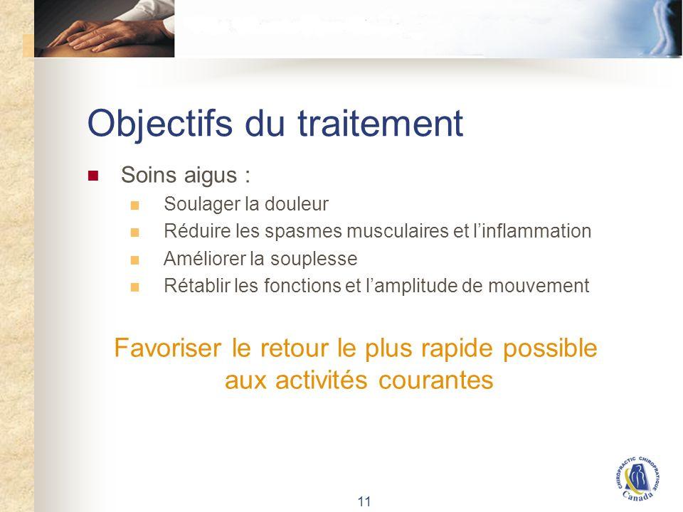 11 Objectifs du traitement Soins aigus : Soulager la douleur Réduire les spasmes musculaires et linflammation Améliorer la souplesse Rétablir les fonctions et lamplitude de mouvement Favoriser le retour le plus rapide possible aux activités courantes