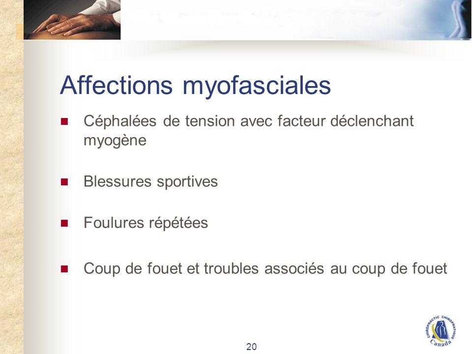 20 Affections myofasciales Céphalées de tension avec facteur déclenchant myogène Blessures sportives Foulures répétées Coup de fouet et troubles assoc