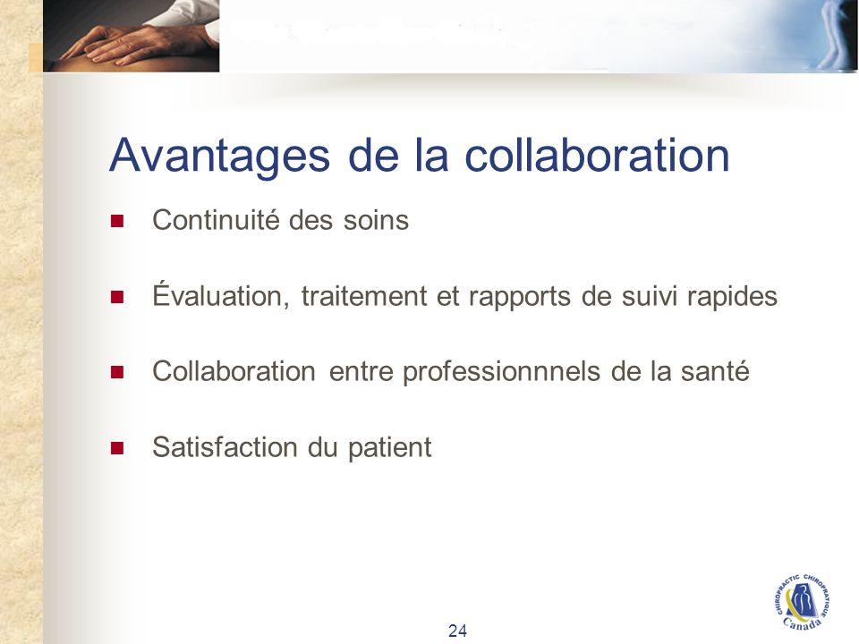 24 Avantages de la collaboration Continuité des soins Évaluation, traitement et rapports de suivi rapides Collaboration entre professionnnels de la santé Satisfaction du patient
