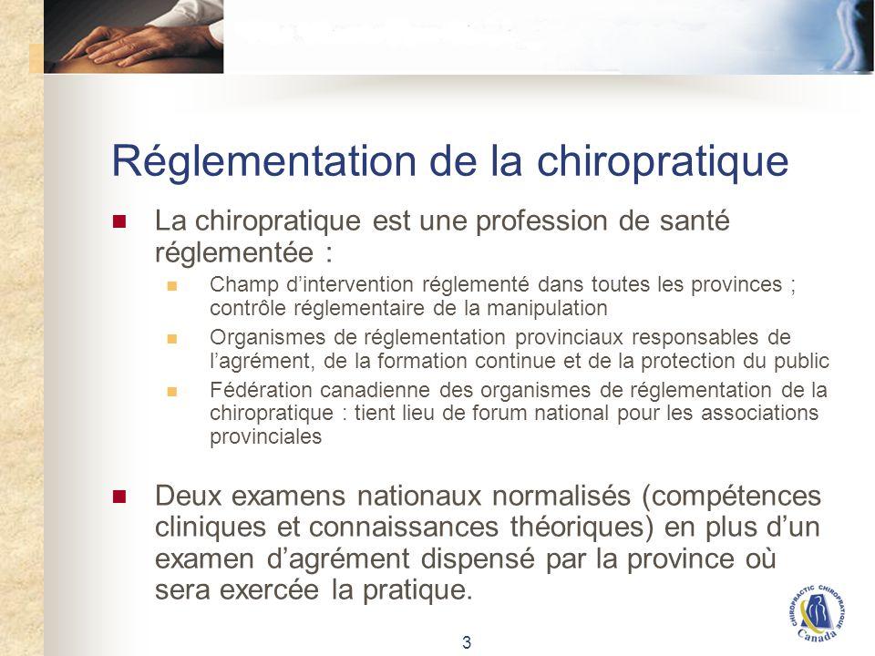 3 Réglementation de la chiropratique La chiropratique est une profession de santé réglementée : Champ dintervention réglementé dans toutes les provinc