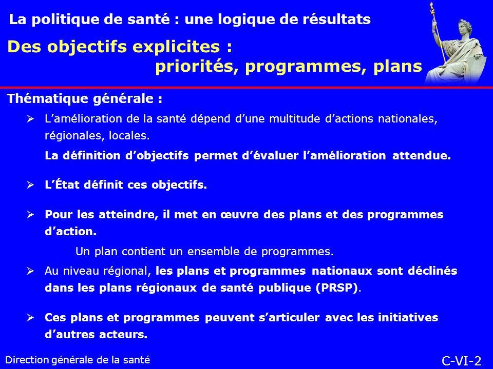 Direction générale de la santé Lamélioration de la santé dépend dune multitude dactions nationales, régionales, locales.