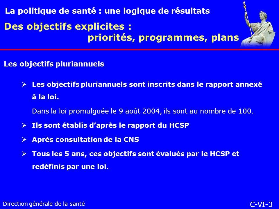 Direction générale de la santé Les objectifs pluriannuels sont inscrits dans le rapport annexé à la loi.