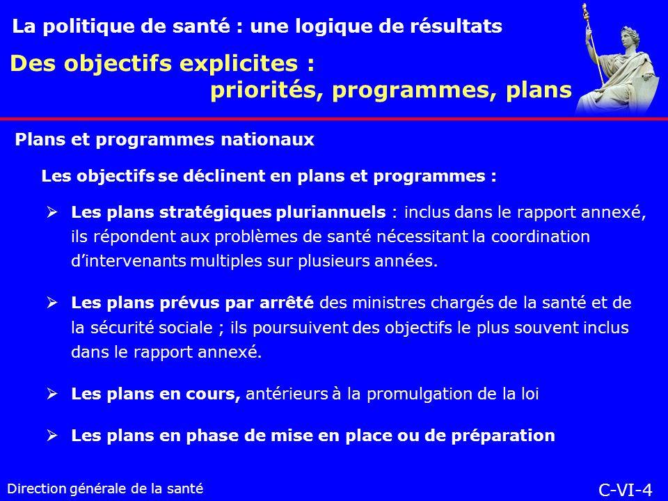 Direction générale de la santé Les plans stratégiques pluriannuels : inclus dans le rapport annexé, ils répondent aux problèmes de santé nécessitant la coordination dintervenants multiples sur plusieurs années.