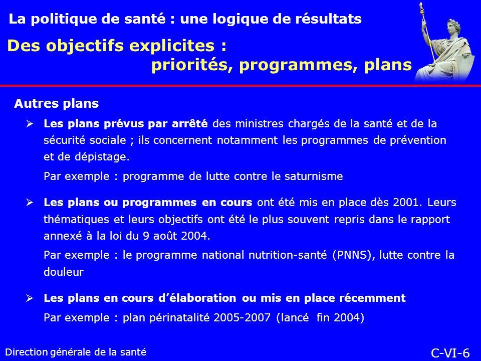 Direction générale de la santé Les plans prévus par arrêté des ministres chargés de la santé et de la sécurité sociale ; ils concernent notamment les programmes de prévention et de dépistage.