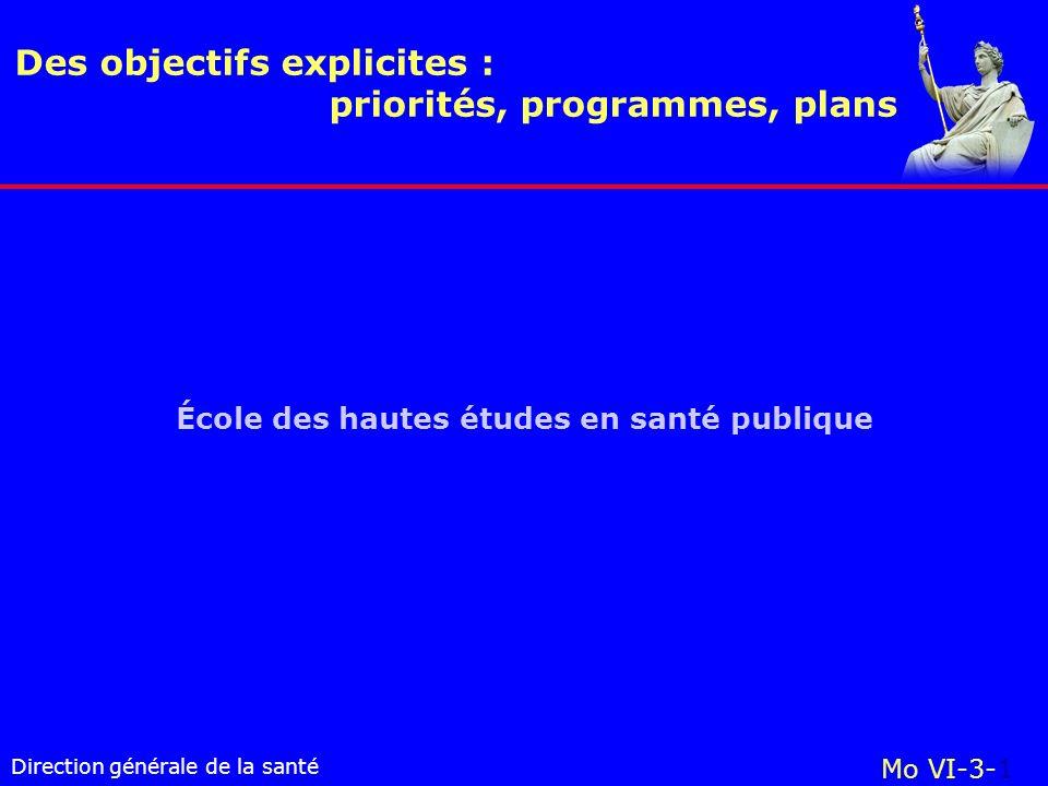 Direction générale de la santé École des hautes études en santé publique Des objectifs explicites : priorités, programmes, plans Mo VI-3-1