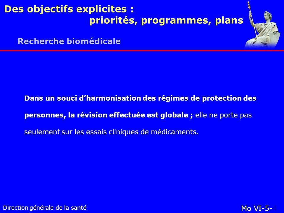 Direction générale de la santé Des objectifs explicites : priorités, programmes, plans Mo VI-5-4 Recherche biomédicale Dans un souci dharmonisation des régimes de protection des personnes, la révision effectuée est globale ; elle ne porte pas seulement sur les essais cliniques de médicaments.