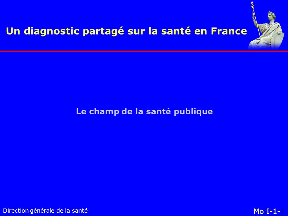 Direction générale de la santé Le champ de la santé publique Un diagnostic partagé sur la santé en France Mo I-1-1