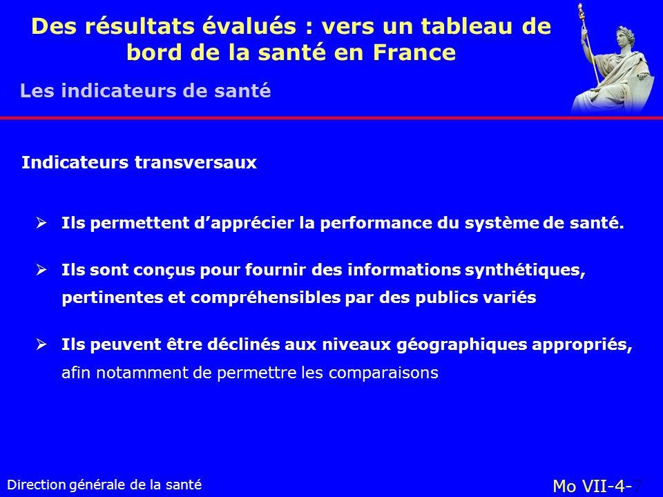Direction générale de la santé Mo VII-4-7 Des résultats évalués : vers un tableau de bord de la santé en France Ils permettent dapprécier la performance du système de santé.