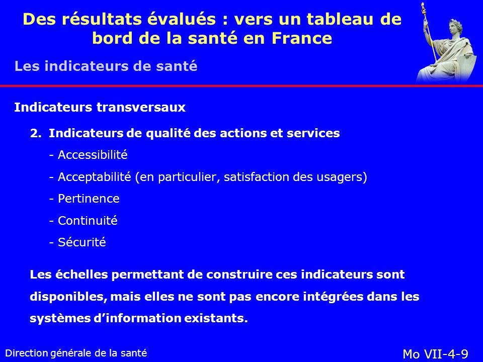 Direction générale de la santé Mo VII-4-9 Des résultats évalués : vers un tableau de bord de la santé en France 2.Indicateurs de qualité des actions et services - Accessibilité - Acceptabilité (en particulier, satisfaction des usagers) - Pertinence - Continuité - Sécurité Les échelles permettant de construire ces indicateurs sont disponibles, mais elles ne sont pas encore intégrées dans les systèmes dinformation existants.