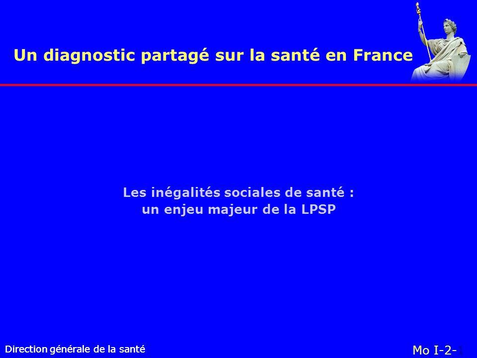 Direction générale de la santé Un diagnostic partagé sur la santé en France Direction générale de la santé Mo I-2-1 Les inégalités sociales de santé : un enjeu majeur de la LPSP