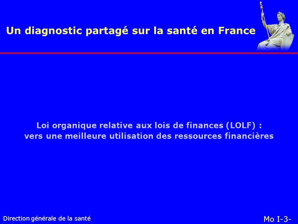 Direction générale de la santé Un diagnostic partagé sur la santé en France Mo I-3-1 Loi organique relative aux lois de finances (LOLF) : vers une meilleure utilisation des ressources financières