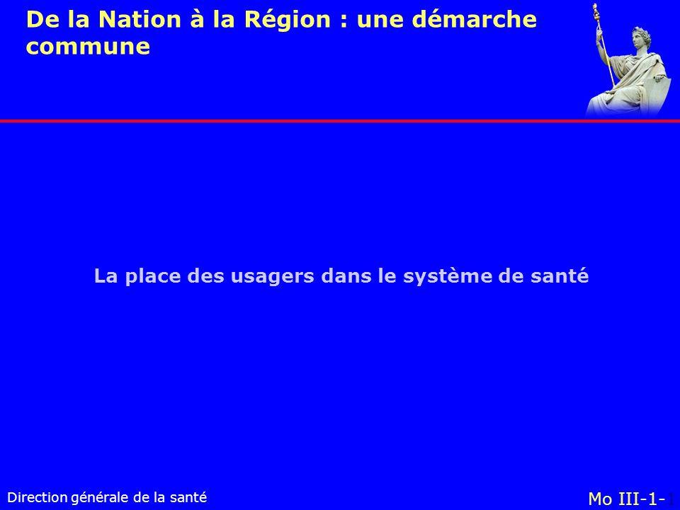 Direction générale de la santé La place des usagers dans le système de santé Mo III-1-1 De la Nation à la Région : une démarche commune