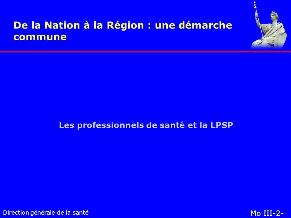 Direction générale de la santé Mo III-2-1 Les professionnels de santé et la LPSP De la Nation à la Région : une démarche commune