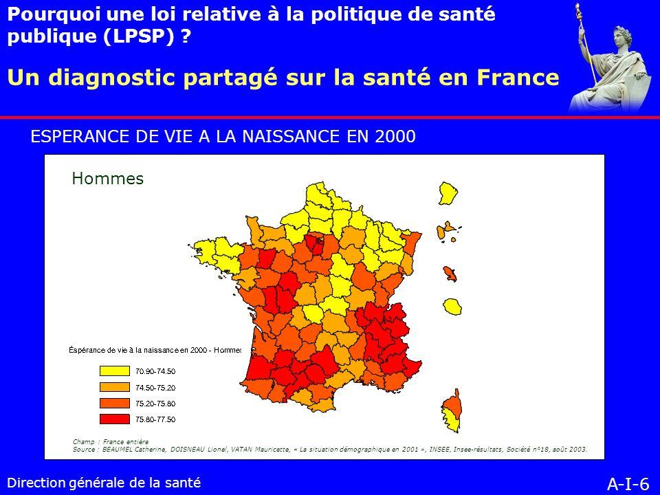 Direction générale de la santé Mo VII-2-2 Des résultats évalués : vers un tableau de bord de la santé en France à lélaboration et à la mise en œuvre des plans et programmes, au choix des problèmes de santé pour lesquels des objectifs de santé publique ont été définis.