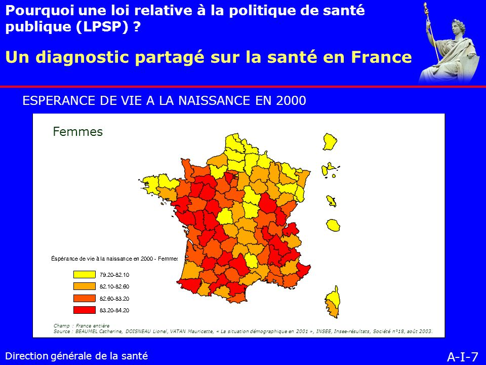 Direction générale de la santé Un diagnostic partagé sur la santé en France Pourquoi une loi relative à la politique de santé publique (LPSP) .