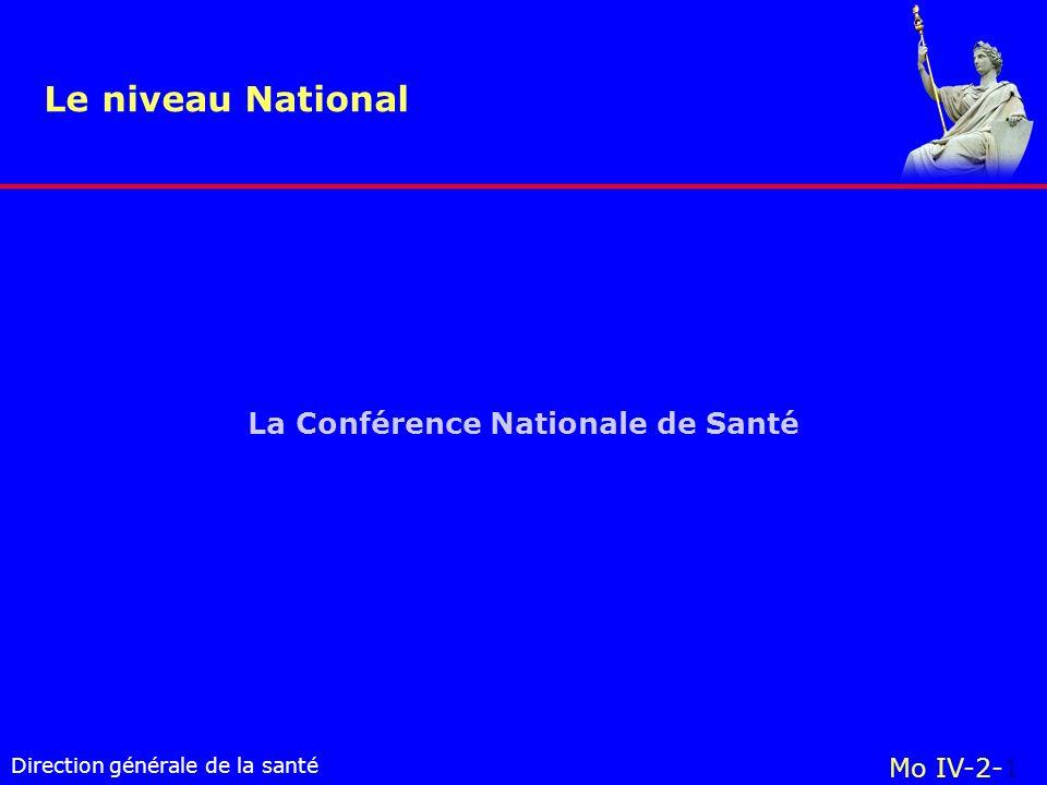 Direction générale de la santé La Conférence Nationale de Santé Le niveau National Mo IV-2-1