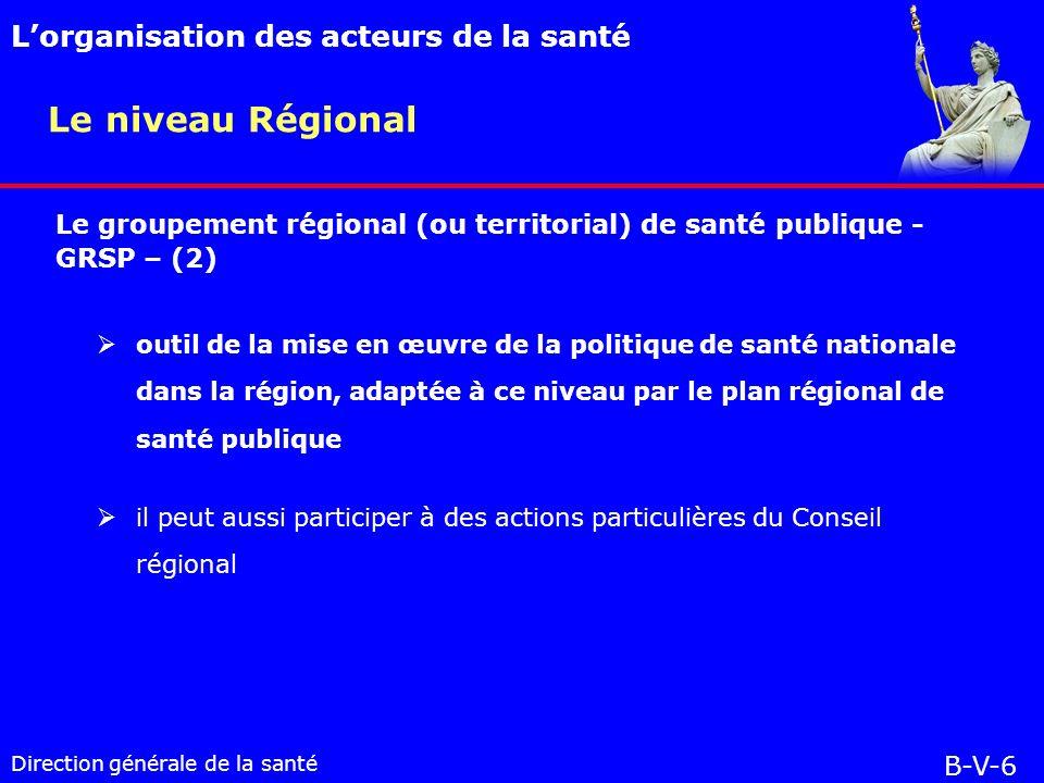 Direction générale de la santé outil de la mise en œuvre de la politique de santé nationale dans la région, adaptée à ce niveau par le plan régional de santé publique il peut aussi participer à des actions particulières du Conseil régional Le niveau Régional Lorganisation des acteurs de la santé B-V-6 Le groupement régional (ou territorial) de santé publique - GRSP – (2)