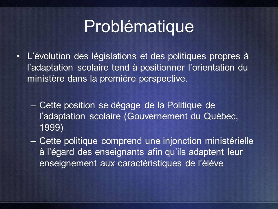 Problématique Lévolution des législations et des politiques propres à ladaptation scolaire tend à positionner lorientation du ministère dans la première perspective.