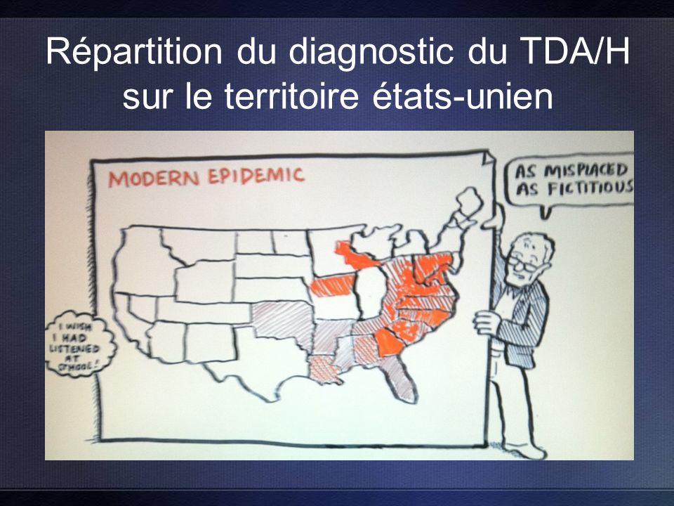 Répartition du diagnostic du TDA/H sur le territoire états-unien