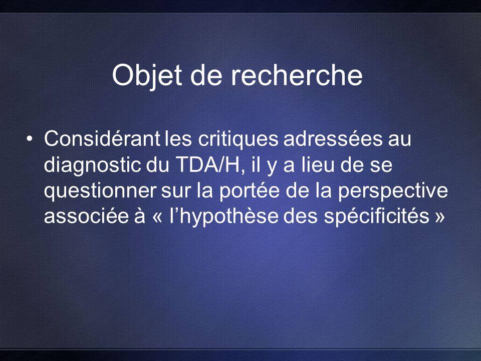 Objet de recherche Considérant les critiques adressées au diagnostic du TDA/H, il y a lieu de se questionner sur la portée de la perspective associée à « lhypothèse des spécificités »