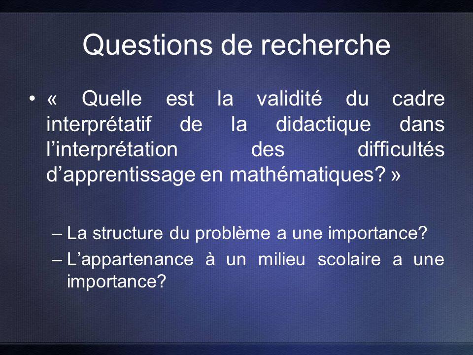 Questions de recherche « Quelle est la validité du cadre interprétatif de la didactique dans linterprétation des difficultés dapprentissage en mathématiques.
