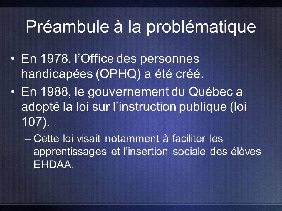 Préambule à la problématique En 1978, lOffice des personnes handicapées (OPHQ) a été créé.