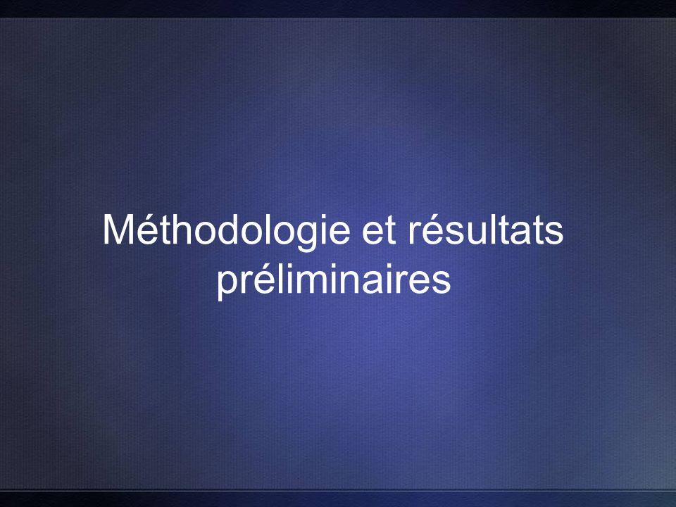Méthodologie et résultats préliminaires