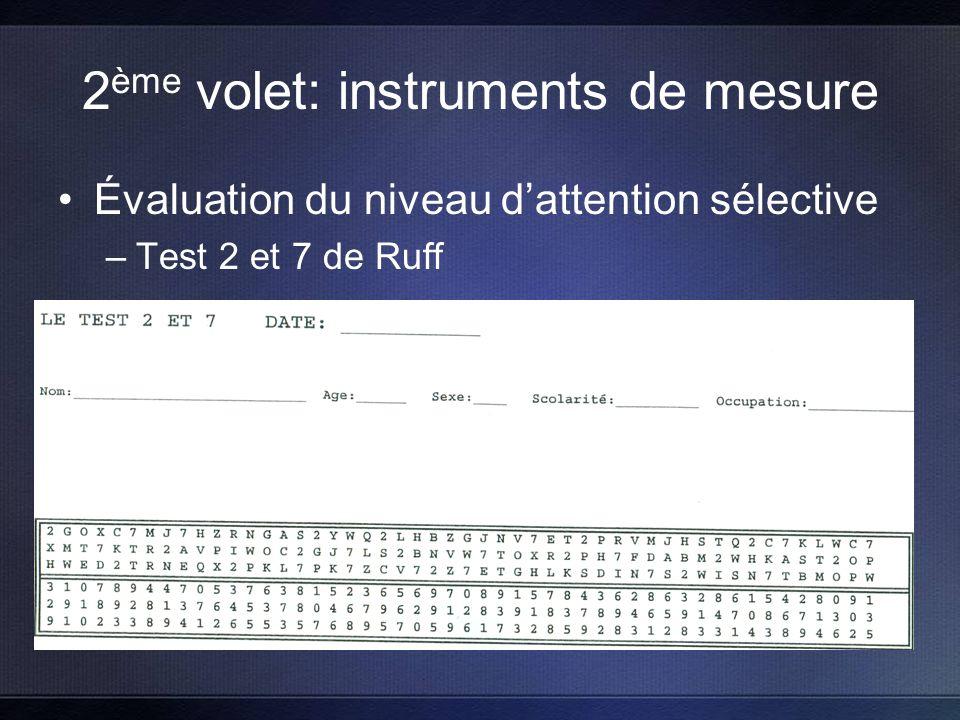 2 ème volet: instruments de mesure Évaluation du niveau dattention sélective –Test 2 et 7 de Ruff