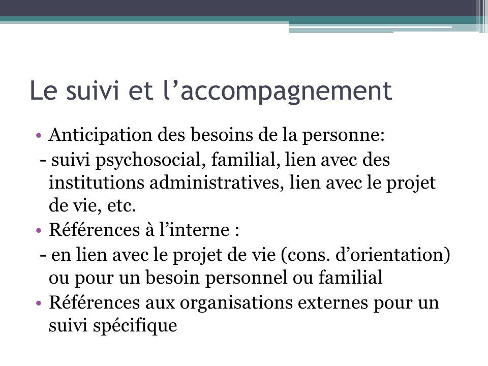 Le suivi et laccompagnement Anticipation des besoins de la personne: - suivi psychosocial, familial, lien avec des institutions administratives, lien