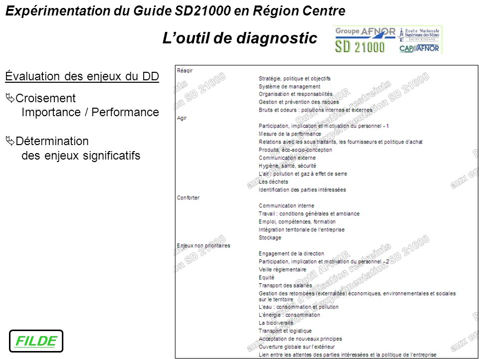 FILDE Expérimentation du Guide SD21000 en Région Centre Loutil de diagnostic Évaluation des enjeux du DD Croisement Importance / Performance Détermina