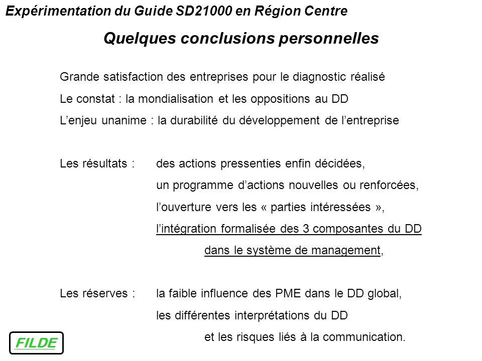 Expérimentation du Guide SD21000 en Région Centre Quelques conclusions personnelles FILDE Grande satisfaction des entreprises pour le diagnostic réali