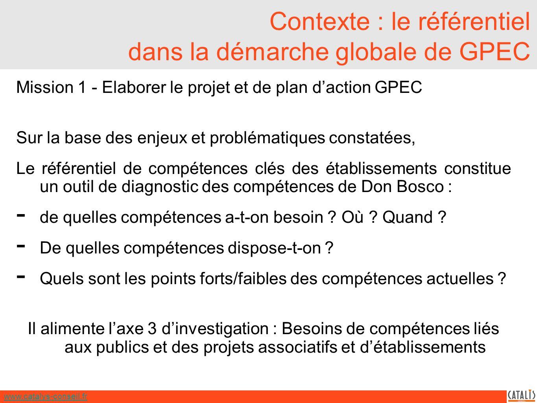 www.catalys-conseil.fr Contexte : le référentiel dans la démarche globale de GPEC Mission 1 - Elaborer le projet et de plan daction GPEC Sur la base des enjeux et problématiques constatées, Le référentiel de compétences clés des établissements constitue un outil de diagnostic des compétences de Don Bosco : - de quelles compétences a-t-on besoin .